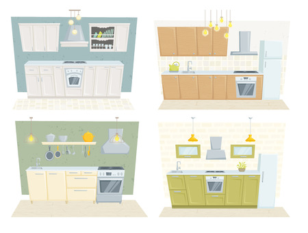 kitchen cabinet: Kitchen interior with furniture and decoration set. Kitchen interior cartoon vector illustration. Kitchen furniture: table, container, cupboard, cabinet, cooler, stove, chair, shelf. Modern interior Illustration