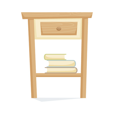bedside: Bedside table with book vector illustration. Cartoon cabinet isolated on white