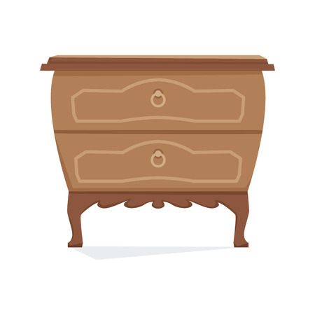 console table: Commode furniture vector illustration. Cartoon cabinet isolated on white