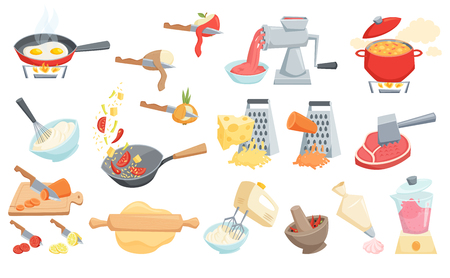 Cooking process set: cook soup, smoothie in blender, mixer whipped cream, grated cheese, wok pan fry, curry paste mortar, rolling pin, peel or cut vegetable, meat grinder and hammer, cook cake. Stock Illustratie