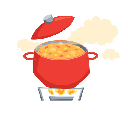 Boil the soup in a pot. Soup on the stove to boil. Cooking process illustration. Kitchenware and cooking utensils isolated on white. Vegatables soup in pot. Pan on a gas stove