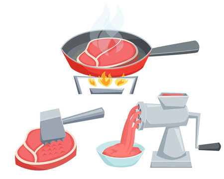 meat  grinder: Cooking meat set. Fry the steak in a frying pan, make minced in a meat grinder, tenderize meat with hammer. Cooking process illustration. Kitchenware and cooking utensils isolated on white.