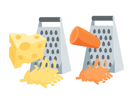 Grate set. Grated carrots and cheese. Cooking process illustration. Kitchenware and cooking utensils isolated on white.
