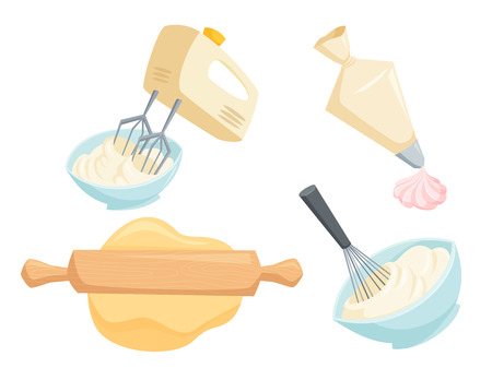roll out: Baking set. Mixer or whisk whipped cream, roll out with rolling pin, decorate cakes with cream from pastry bag. Bakery process illustration. Kitchenware, cooking utensil isolated on white