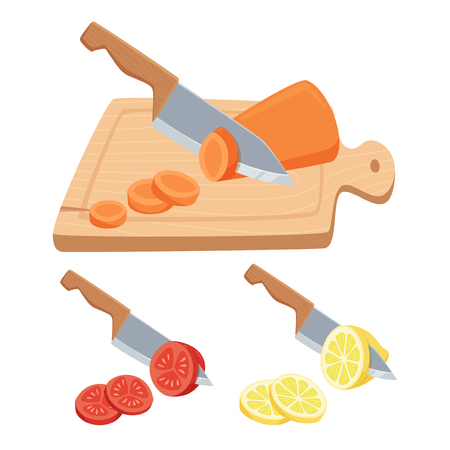 Cut vegetable and fruit set. Cut with a knife on a cutting board carrots, tomatoes, lemon. Cooking process illustration. Kitchenware and cooking utensils isolated on white.