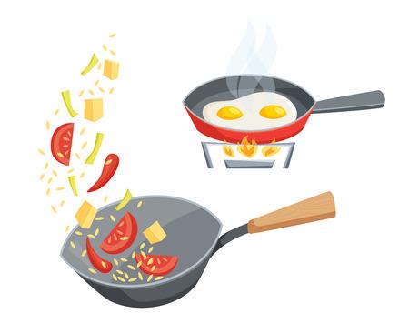 Freír en un conjunto cacerola. Freír las verduras en el wok y cocinar los huevos en una sartén. ilustración proceso de cocción. Utensilios de cocina y utensilios de cocina aislado en blanco. Comida en el wok