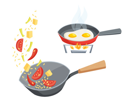 Fry in a pan set. Fry the vegetables in the wok pan and cook eggs in a frying pan. Cooking process illustration. Kitchenware and cooking utensils isolated on white. Food on the wok