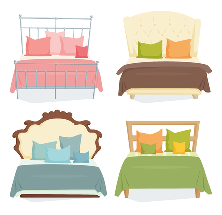 Double beds and pillows set with blanket in modern style. Double bed cartoon illustration. Bedroom furniture. Duvet beds icon isolated on white
