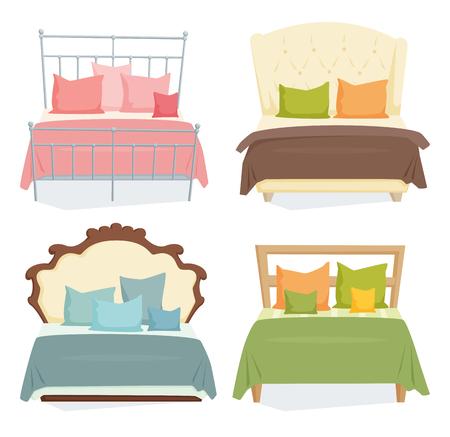 Letti matrimoniali e cuscini impostati con coperta in stile moderno. Doppia illustrazione letto dei cartoni animati. mobili camera da letto. letti piumone icona isolato su bianco Archivio Fotografico - 61632816