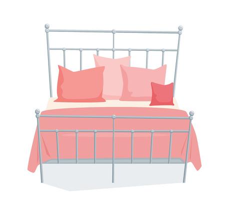 Tweepersoonsbed en een kussen met een deken in een moderne stijl. Dubbel bed cartoon illustratie. Slaapkamermeubilair. Metallic dekbed bed pictogram op een witte