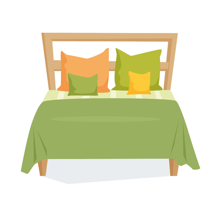 duvet: Double bed and pillow with blanket in modern style. Double bed cartoon illustration. Bedroom furniture.Wooden bed icon isolated on white Illustration