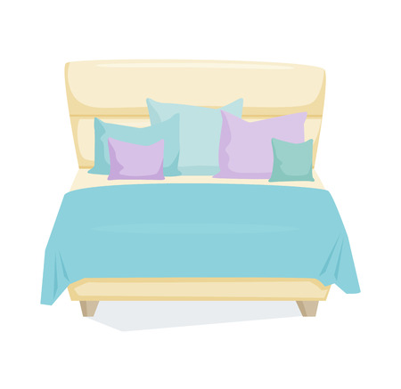 duvet: Double bed and pillow with blanket in modern style. Double bed cartoon illustration. Bedroom furniture. Leather duvet bed icon isolated on white Illustration