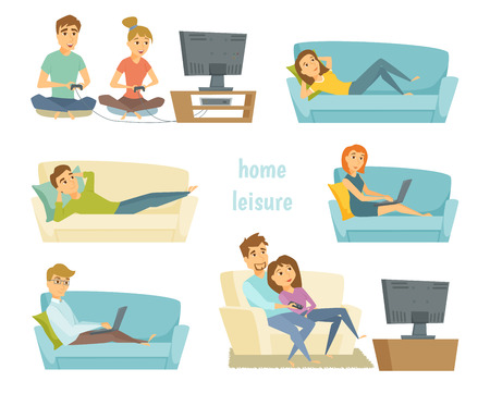 woman watching tv: Home leisure. Couple watching tv. Man work at home and women shopping online on sofa with laptop. Friends playing video games. People lying on sofa and relax. Home leisure young people. Leisure time