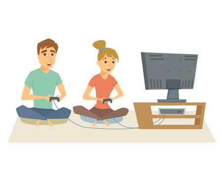Couple jouer à des jeux vidéo. homme Fun et une femme assis sur le plancher en jouant sur la console vidéo ensemble. Jeune couple de repos à la maison, en utilisant la console et manette. amis Gamer vecteur de loisirs illustration Vecteurs
