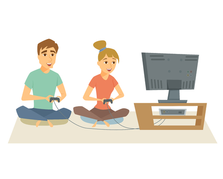 Couple playing video games. Fun man and woman sitting on floor playing on video console together. Young couple resting at home, using console and joystick. Gamer friends leisure vector illustration