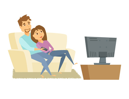 woman watching tv: Couple watching tv. Man and woman sitting on sofa and watching television together. Young couple relaxing at home, use the remote control and watch tv movie. Family tv leisure vector illustration