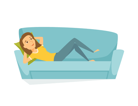 Woman lying on the sofa. Happy smile girl relaxing on sofa at home. Young woman relax on couch and dream. Person lying and resting. Home leisure Vettoriali