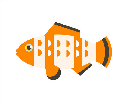 Aquarium fish. Clownfish flat illustration. The inhabitants of marine reef aquariums and ponds