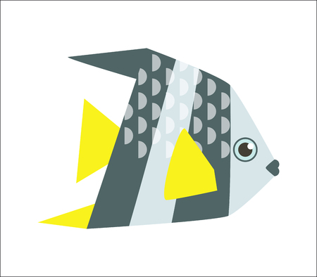 angelfish: Aquarium fish. Angelfish flat illustration. The inhabitants of marine reef aquariums and ponds