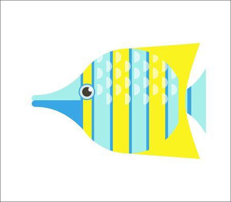 Aquarium fish. Butterflyfish flat illustration. The inhabitants of marine reef aquariums and ponds