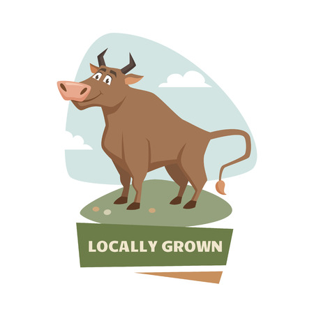 bull market: Bull on field label or badge. Farm meet logo. Natural food, organic product, locally grown. Cartoon bull on green grass. Cute and funny bull. Farmers market label