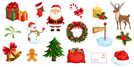 Christmas icons set. Christmas holiday objects collection. Christmas illustration: santa, wreath, north pole, snowman, gift, christmas tree, santa hat, santa bag, reindeer, mistletoe, holly, toy, bell Vettoriali