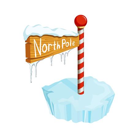 Segno di Natale del Polo Nord. oggetto vacanze di Natale. Natale Polo Nord illustrazione segno vettoriale. segno del fumetto Polo Nord con lastrone di ghiaccio, ghiacciolo e neve Vettoriali