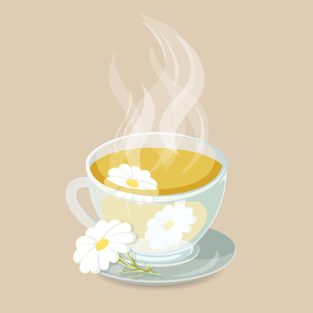 tipple: Herbal tea with chamomile. Healhty hot drinks icon. Cap of herbal tea with chamomile vector illustration. Hot herbal drinks.Chamomile tea beverage Illustration