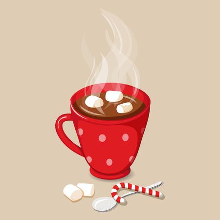 Cioccolata calda con marshmallow. Bevande di cacao caldo di Natale con l'icona di marshmallow. Illustrazione vettoriale con cioccolata calda con marshmallow. Bevande al cacao. Bevanda invernale al cacao Archivio Fotografico - 63868765