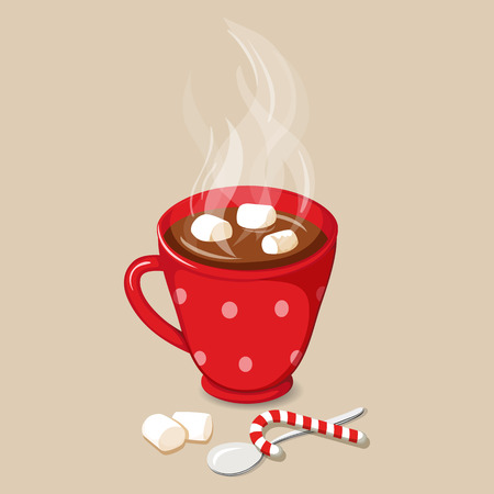 marshmallows: Hot chocolate with marshmallows. Christmas hot cocoa drinks with marshmallows icon. Vector illustration with hot chocolate with marshmallow. Cocoa drinks. Cocoa winter beverage