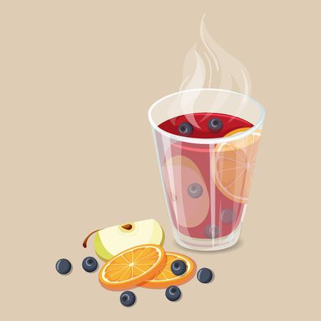 Schlagen. Weihnachten heiße Getränke-Symbol. Vektor-Illustration mit Stempel. Heißer Glühwein Getränke. Glühwein Wintergetränk