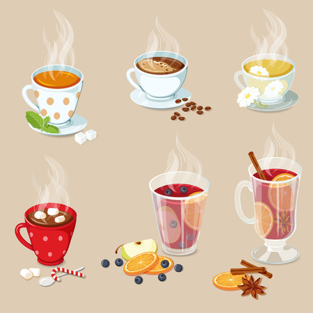 marshmallows: Hot drinks icons set. Cocoa with marshmallows, tea, coffee, hot chocolate, mulled wine and punch with fruit. Christmas hot drinks collection. Hot drinks vector illustration
