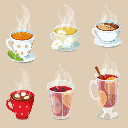 hot drinks: Hot drinks icons set. Cocoa with marshmallows, tea, coffee, hot chocolate, mulled wine and punch with fruit. Christmas hot drinks collection. Hot drinks vector illustration