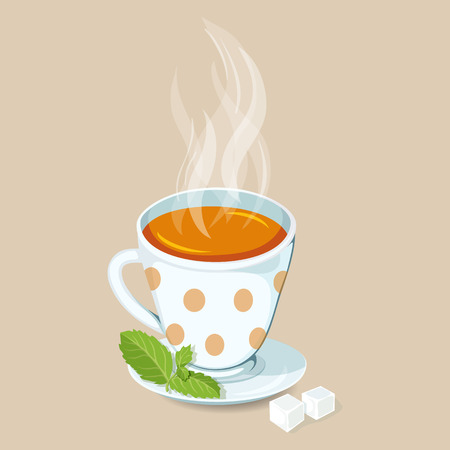 teatime: Hot tea with mint and sugar. Green tea hot drinks icon. Cap of hot tea with mint and sugar vector illustration. Breakfast drinks. Teatime Illustration