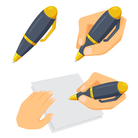 hand pen: Hand with pen set. Process of writing, drawing and sketching. Office and artist tool. Hand holding pen cartoon vector. Working in office, education, hobby and creative concept. Pen in hand on white. Illustration