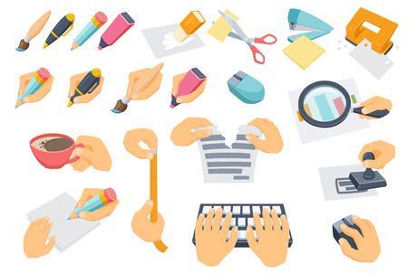 paper punch: Office process set. Process of searching, typing on keyboard, put stamp, tear paper, measuring, coffee break, cut with scissors. Use mouse, punch, stapler, eraser. Hand with pen, pencil, brush, marker