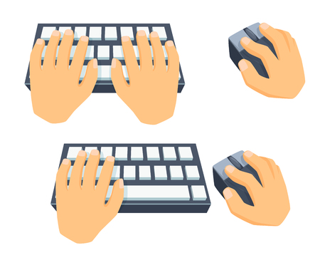 buisiness: Hands use keyboard, computer mouse. Process type on keyboard, clicking with mouse. Office work tool. Cartoon hand with mousee, type on keyboard. Working in office, online education, buisiness concept