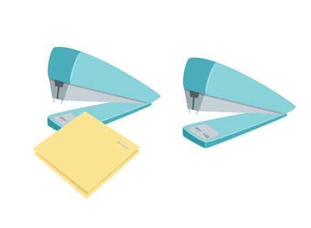 Stapler staples sheets. Process of staples documents. Office work tool. Stapler staples paper cartoon. Working in office, education, business concept.