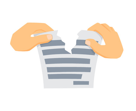 Hands tears paper. Process of tearing paper. Office work tool. Hands holding and rip paper cartoon. Working in office, education, business concept. Hands is tearing paper.
