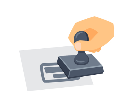 Hand with stamp. Process of stamp imprint. Office work tool. Hand holding stamp cartoon . Working in office, education concept. Seal stamper in hand. Illustration