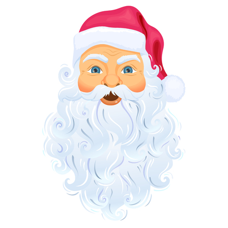 Santa Clause face with beard and hat. Realistic Santa Claus face cartoon Christmas character illustration. Santa Claus head with beard isolated on white background. Cute Christmas symbol. Father Frost