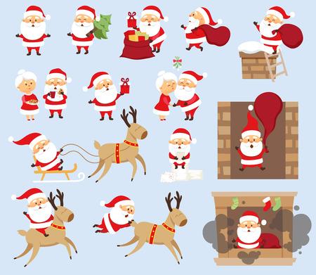 Santa Claus Christmas set. Santa Claus ride on reindeer, sleigh, run with bag, give gift box, fall down the chimney, hold Christmas tree, kiss his wife Mrs. Santa Claus. Christmas character design