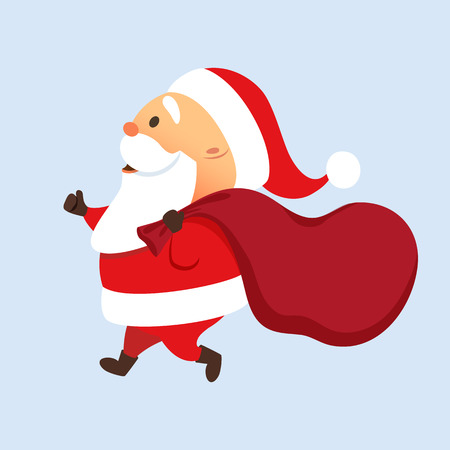 Santa Claus running with a big bag. Santa Claus present delivery. Fast Christmas delivery. Cute Santa Claus is late with sack. Run Father Christmas