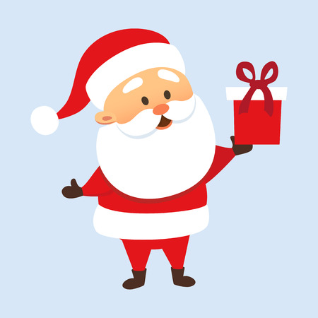 Santa Claus holding a gift box. Santa Claus giving present. Christmas tradition. Cute Santa Claus with gift box. Father Christmas