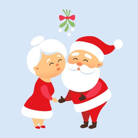Santa Claus besar a su esposa la señora de Santa Claus debajo del muérdago. Navidad tradición romántica. Lindo par de familia de Santa Claus juntos. La madre y el padre de Navidad Ilustración de vector