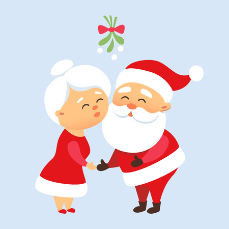 happy new year cartoon: Santa Claus kiss his wife Mrs. Santa Claus under the mistletoe. Romantic Christmas tradition. Cute Santa Claus family couple together. Mother and Father Christmas Illustration