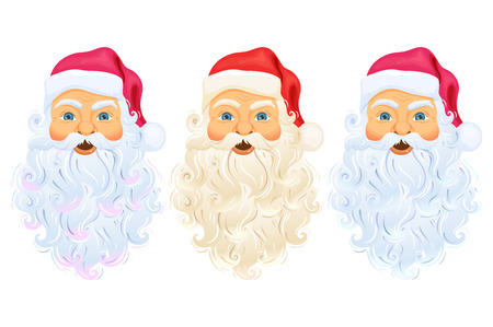 Santa Clause head with face, beard and hat. Santa Claus head and face cartoon Christmas character illustration. Santa Claus head with beard, hat isolated on white. Cute Christmas Father Frost face Vettoriali
