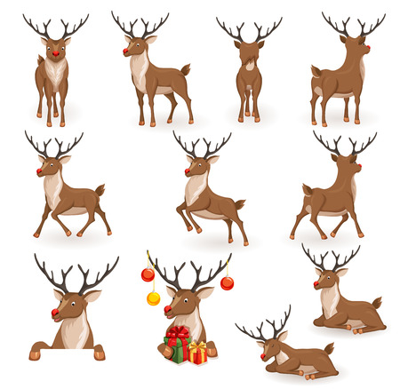 Reindeer Christmas vector illustration set. Moving deer collection. Reindeers back, in profile and full face. Reindeer lying, sleeping, galloping, jumping and flying, looks, gives gift. Holiday icons Ilustração Vetorial