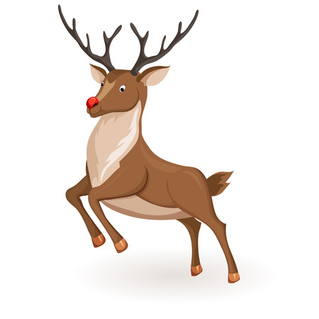 red nose: Reindeer jump or fly Christmas vector illustration. Galloping deer with red nose. Cartoon profile reindeer jump. Xmas holiday icons Illustration