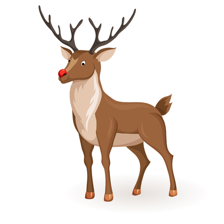 red nose: Reindeer Christmas vector illustration. Stand deer with red nose. Cartoon reindeer hold profile. Xmas holiday icons Illustration